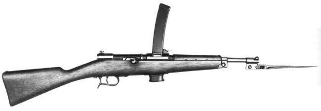 Пистолет-пулемет Beretta M1918 со складным штыком. Патрон - 9 мм Glisenti.