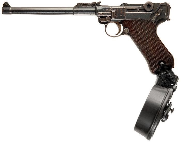 """Пистолет артиллериста Luger LP08 """"Artillery"""" с барабанным магазином на 32 патрона 9x19 мм Trommelmagazin 08."""