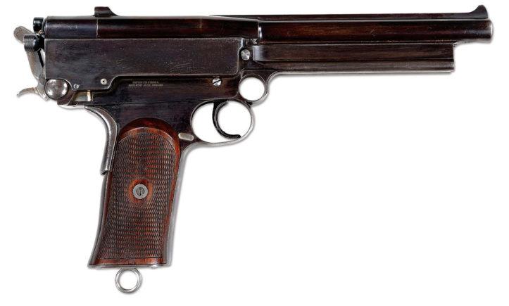 Пистолет Mars Automatic Pistol. Выпускался под патроны 8.5x26 мм Mars, 9x26 мм Mars и .45 Mars.